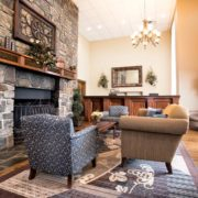 Hotel Lobby, Fireplace, & Seating