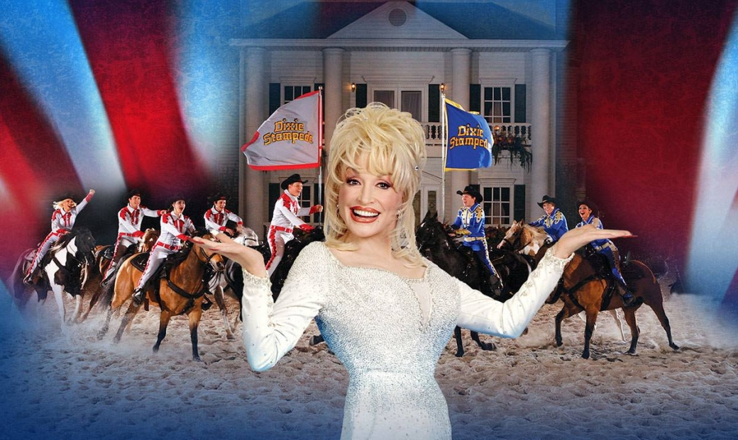 Christmas at DOLLY PARTON'S STAMPEDE Dinner Attraction Celebrate A Family Tradition. It's Christmas At Dolly Parton's Stampede! The Stampede cast, including thirty-two magnificent horses, takes you on a nostalgic holiday trip with a friendly competition of North Pole and South Pole, all while you enjoy a fabulous four-course holiday feast.
