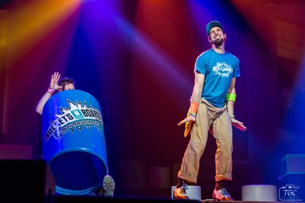 A percussion, comedy, and musical show is presented by Buckets 'n Boards in Branson!
