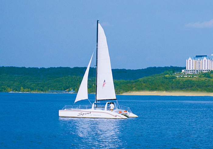 The Spirit of America catamaran offers sightseeing and swimming cruises on Table Rock Lake.