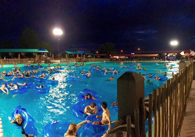 The Wave Pool, slides, lazy river, and kids' areas will stay open late during Night Water.