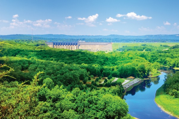 Table Rock Dam offers beautiful views of the Ozarks and feeds Lake Taneycomo from the bottom of Table Rock Lake