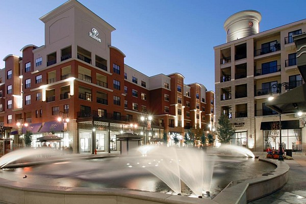 The Hilton Promenade Hotel overlooks the famous water and fire show fountains and is the only hotel actually located at the Branson Landing