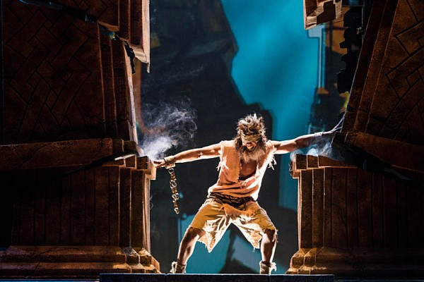 Samson pushing down the pillars of Dagon's Temple, just one incredible scene from this year's new show at Sight & Sound Theatre in Branson, MO.