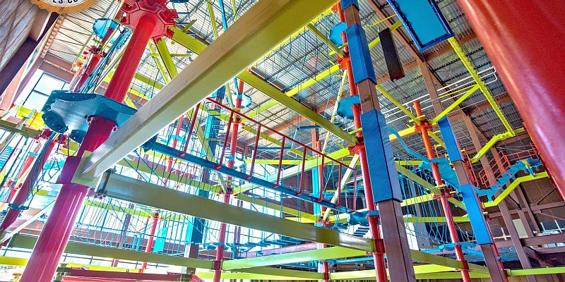 An indoor ropes course is just one of many attractions located inside the Fritz's Adventure attraction!