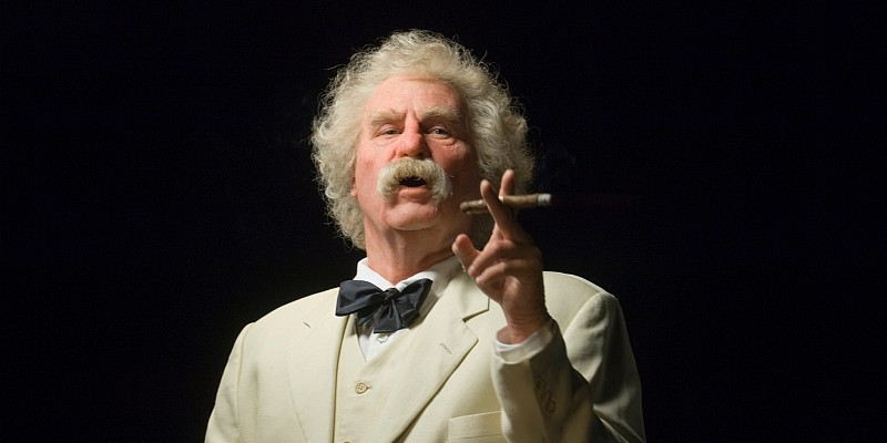 "Val Kilmer as Mark Twain (Samuel Clemens) in his ""Cinema Twain"" production to be screened in Branson, Missouri at The Mansion Theatre on September 29, 2018"