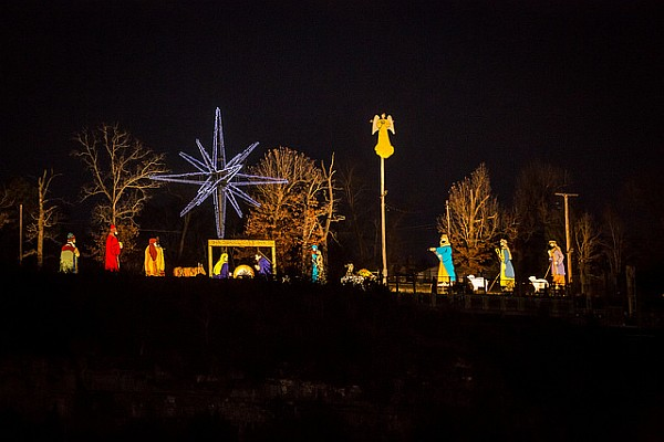 The lighting of the 28' tall nativity scene on Mt. Branson kicks of Branson's annual Adoration Parade