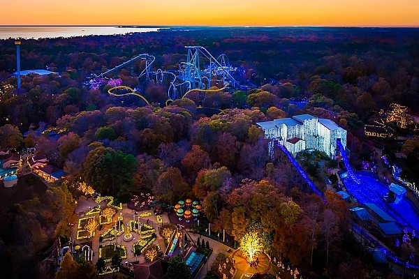 Williamsburg, Virginia's Busch Gardens amusement park decorated with Christmas lights.