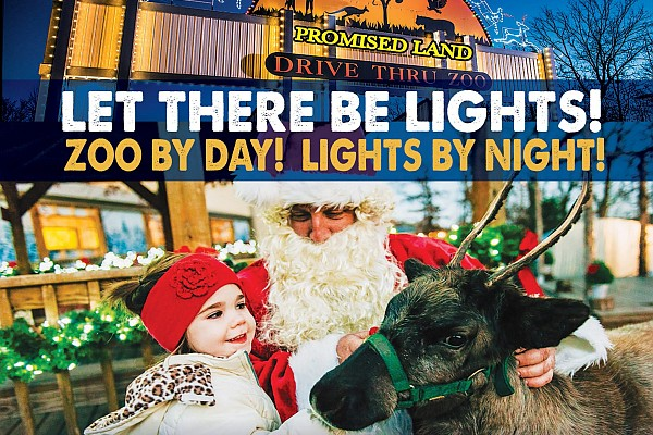 "Promised Land Zoo's ""Let There be Lights"" is a 2-mile drive through display with animals and Christmas lights!"