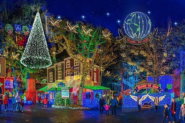 Silver Dollar City theme and amusement park in Branson, MO is illuminated with 6.5 million lights.