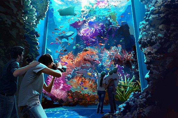 Touch pools, giant tanks, and a multitude of aquatic life will be located in the new attraction